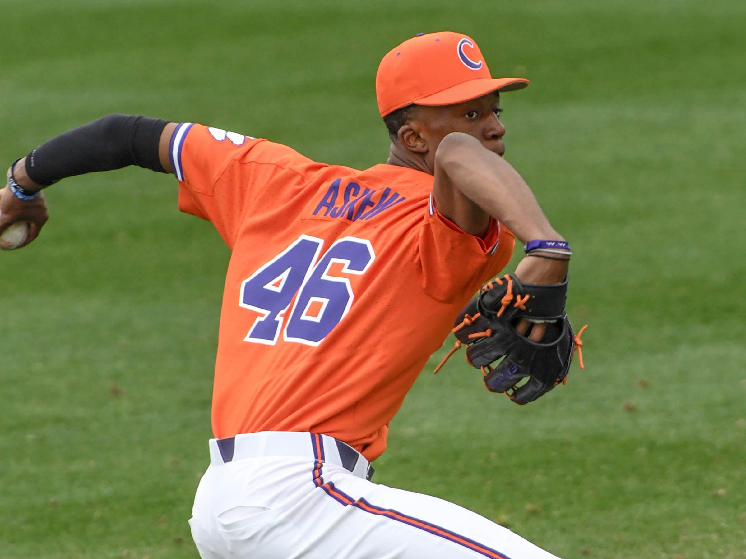 Clemson freshman Keyshawn Askew warms up before the game with South Alabama at Doug Kingsmore Stadium in Clemson Friday, February 15, 2019.