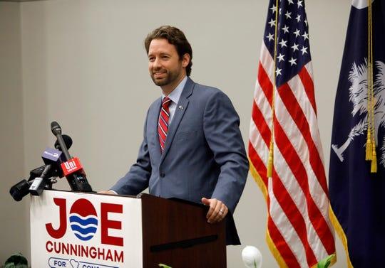 Democrat Joe Cunningham speaks during his victory press conference at the International Longshoremen's Association hall in Charleston, S.C., on Nov. 7, 2018.