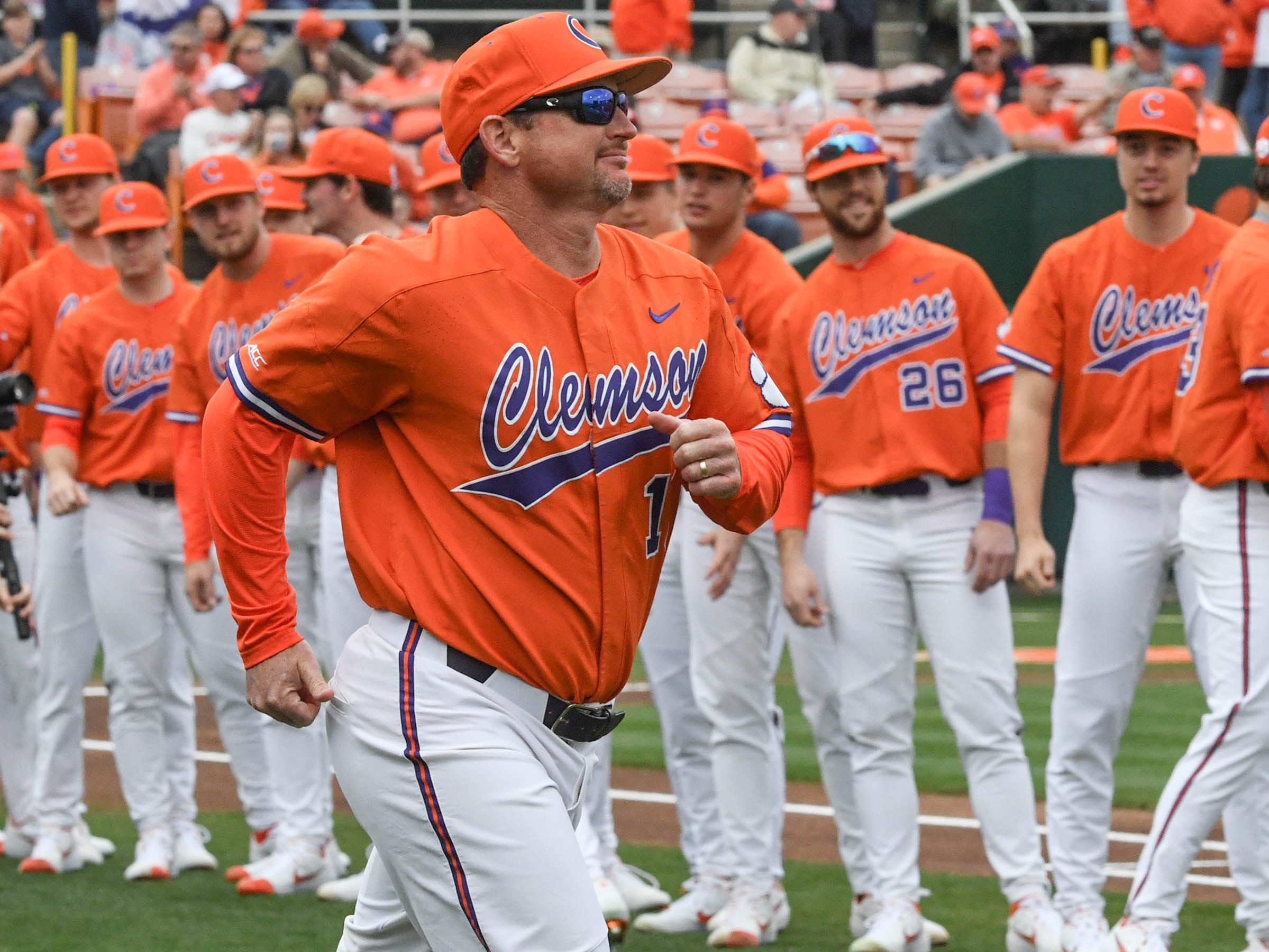 Clemson head coach Monte Lee is introduced before the game at Doug Kingsmore Stadium in Clemson Friday, February 15, 2019.