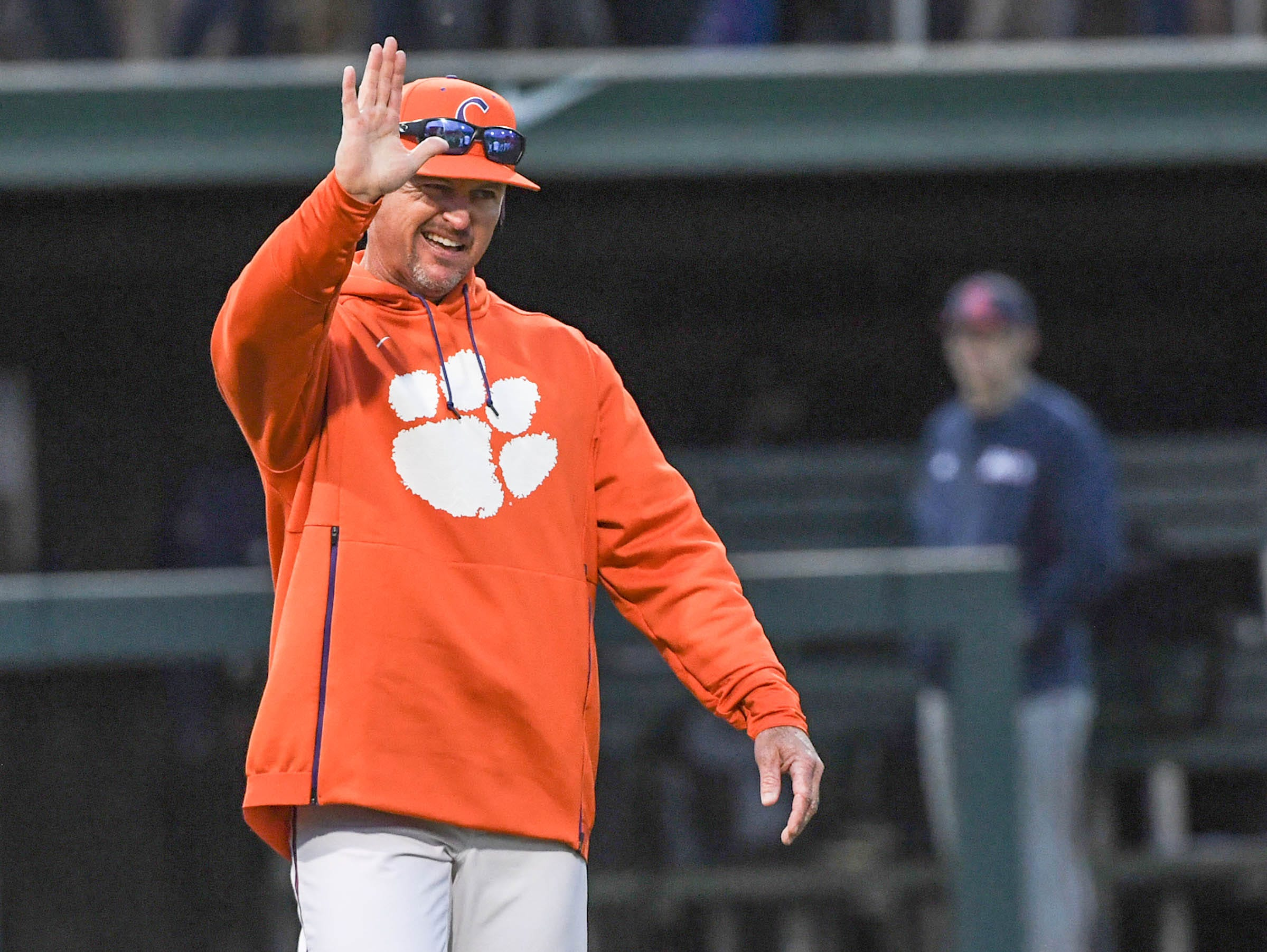 Clemson head coach Monte Lee celebrates a 6-2 win over South Alabama in the season opener at Doug Kingsmore Stadium in Clemson Friday, February 15, 2019.