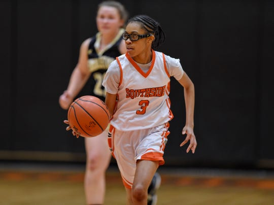 Anaya Muhammad (3), an eighth-grader, has led Southside High into the third round of the Class AA state playoffs