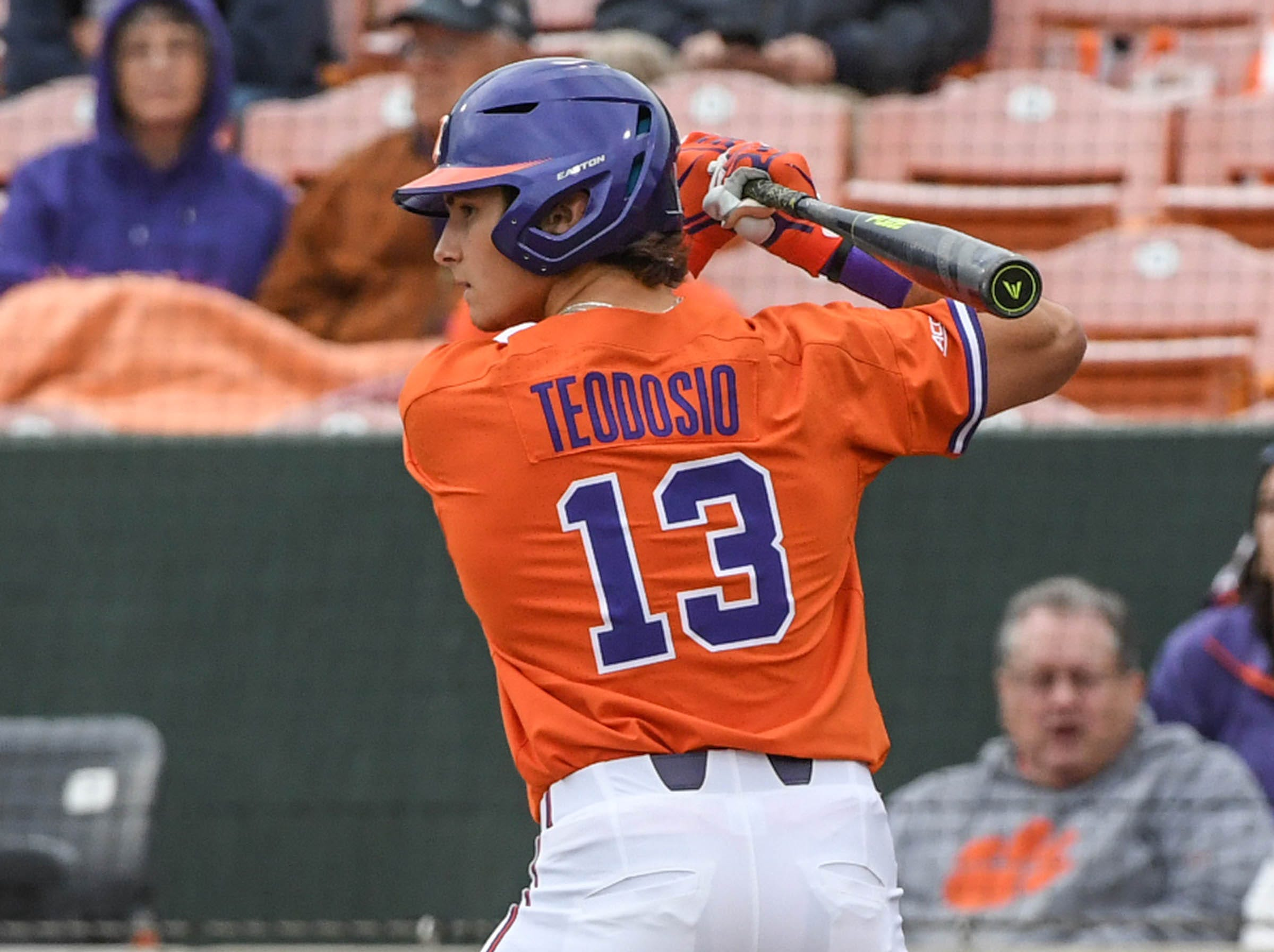 Clemson sophomore Bryce Teodosio(13) swings against South Alabama during the top of the sixth inning at Doug Kingsmore Stadium in Clemson Friday, February 15, 2019.