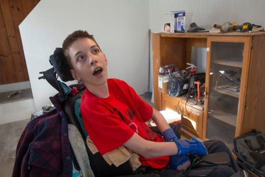 Val Falzarano, 15, inside his home which is being renovated to make it more accessible for him.