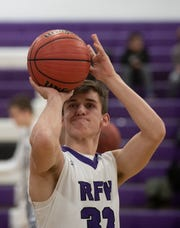 Rumson's Drew Frankel practices his foul shots prior to Holmdel Boys Basketball vs Rumson-Fair Haven in Rumson, NJ on February 14, 2019. Frankel is a three sport standout in spite of suffering from Type 1 diatbetes.