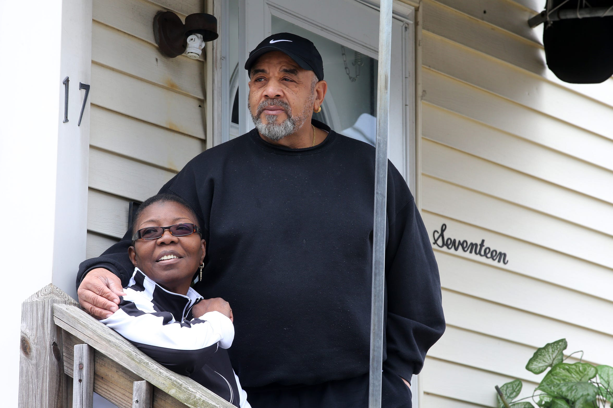 Dan and Emily Harris, community leaders and lifetime residents of Asbury Park's West Side, pose outside of their home in Asbury Park, NJ Friday, February 15, 2019.