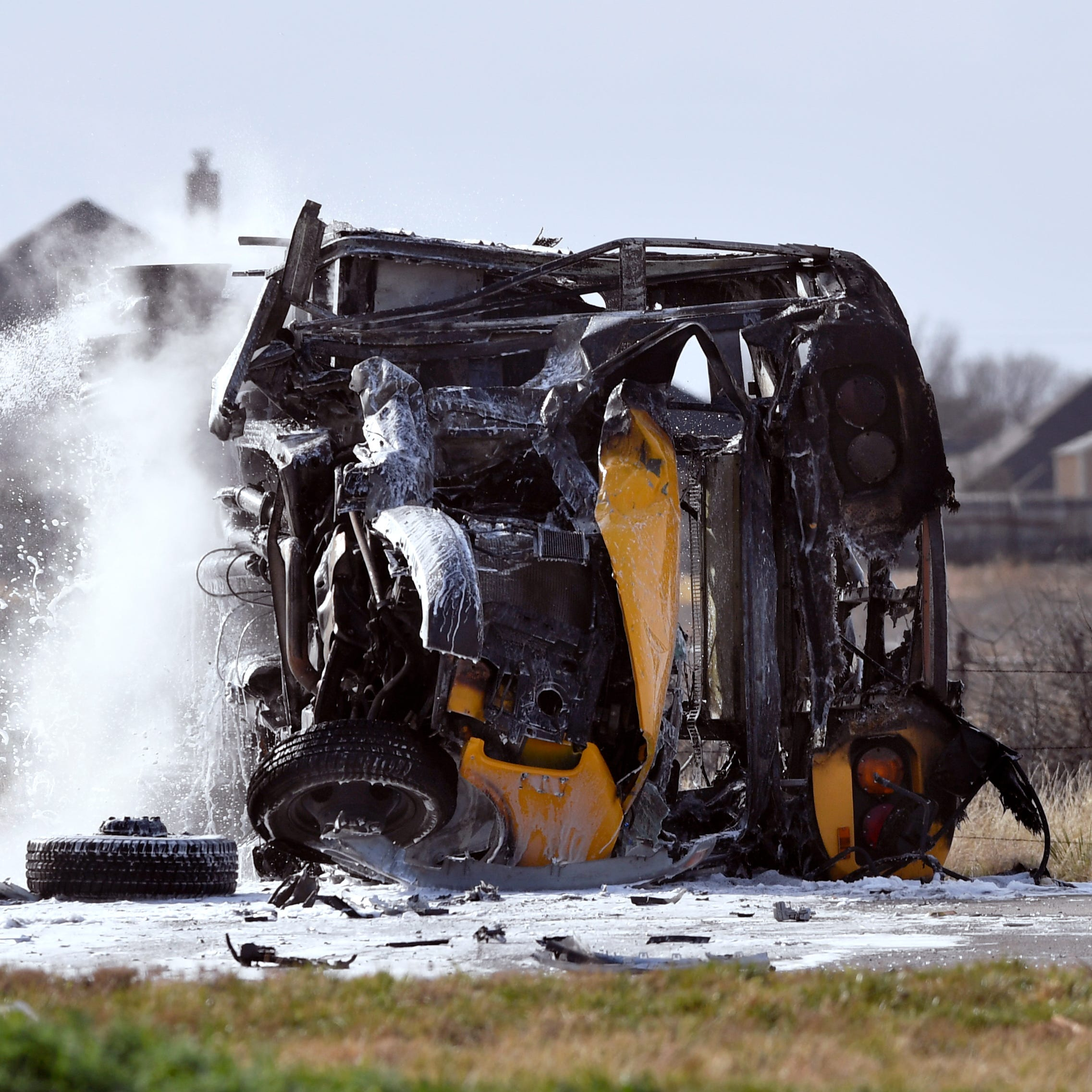 Wylie ISD bus burns after collision; driver, student safe