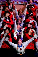 """Drawing inspiration from """"The Greatest Showman"""", the sorority sisters of GATA perform during Sing Song rehearsal Thursday Feb. 14, 2019 at ACU's Moody Coliseum."""