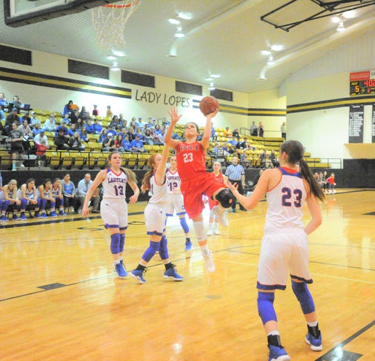 Jim Ned senior Libby Tutt, center, goes up for a shot against Childress in an area playoff Thursday, Feb. 14, 2019, at Antelope Arena in Post. The Lady Indians won 52-39.