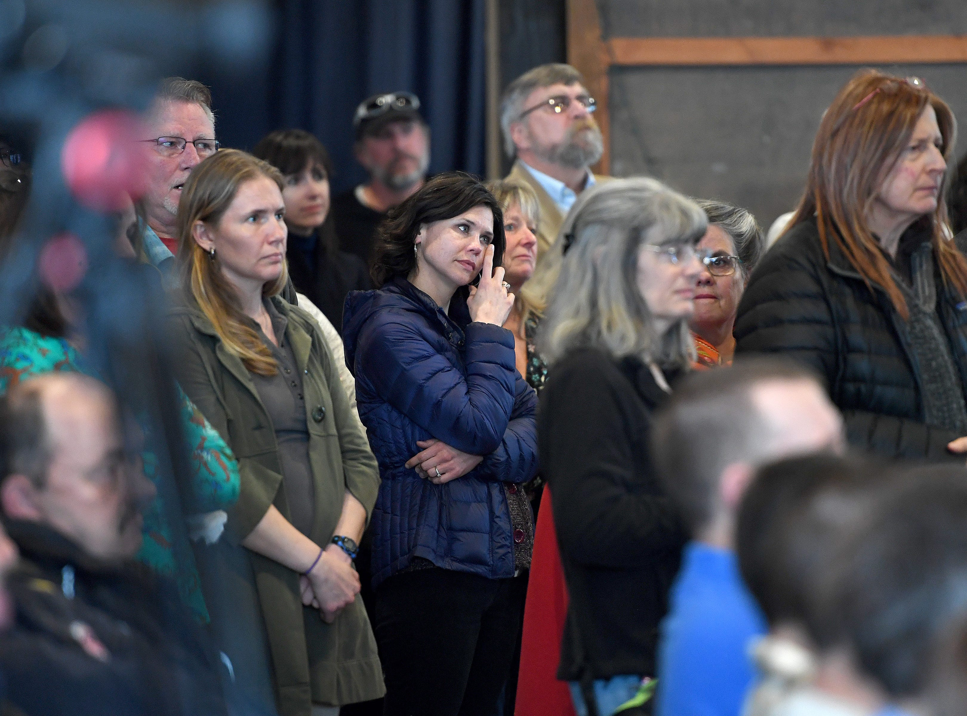 Friends, family and coworkers gathered to honor the life of Karen Shuart at the Salvage Station on Feb. 15, 2019. Shuart was an Asheville firefighter and died of cancer last year.