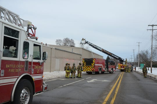 Battle Creek firefighters were called to a fire on West Columbia Avenue Thursday and found a heating and air conditioning unit on the roof on fire.