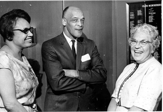 Frances Valentine, Clark Valentine, and Berenice Lowe. Valentine was the first black city commissioner in Battle Creek.