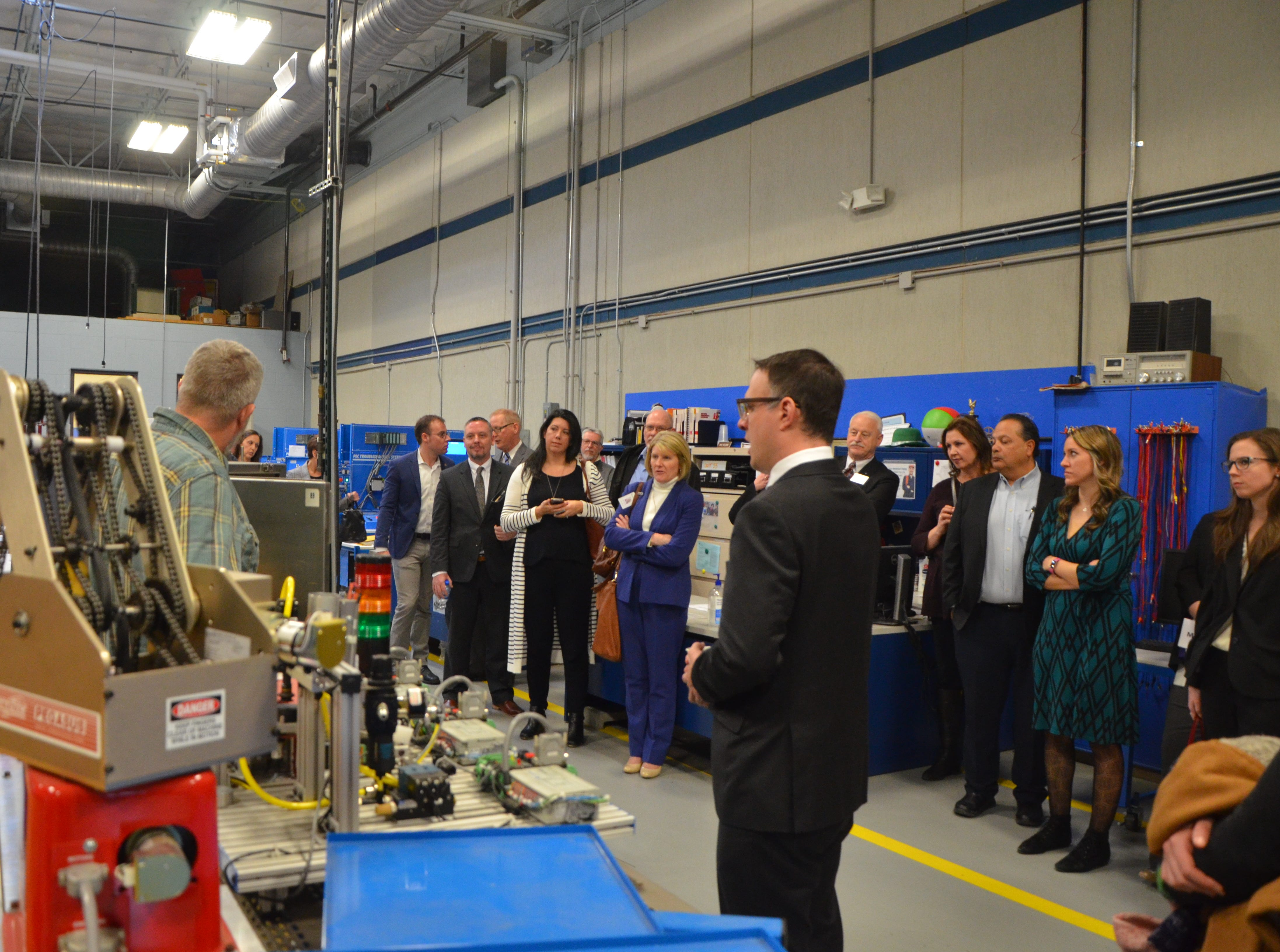 Members of Gov. Gretchen Whitmer's administration along with representatives from companies and organizations in Calhoun County were brought on a tour of Kellogg Community College's Regional Manufacturing Technology Center on Friday, Feb. 15, 2019.