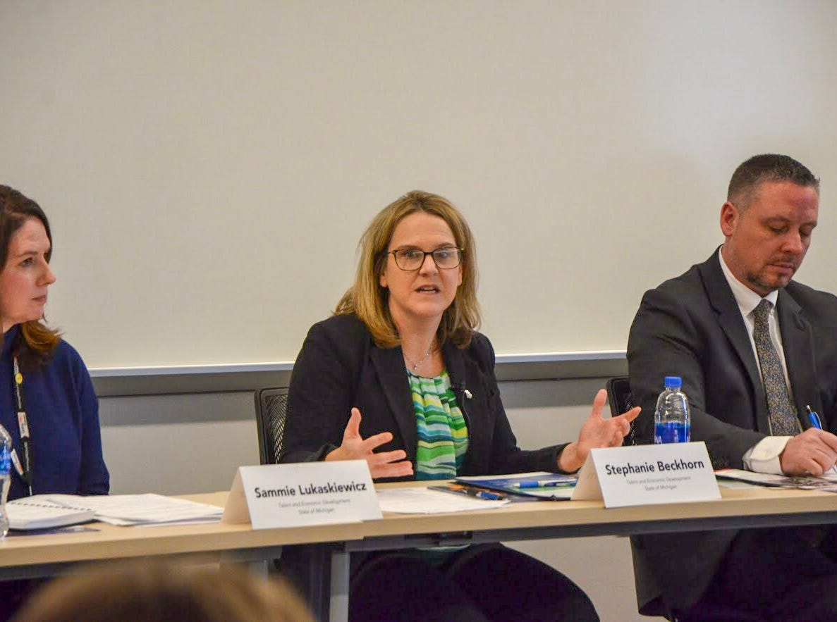 """Gov. Gretchen Whitmer's post-State of the State """"Home for Opportunity Tour"""" began on Friday, Feb. 15, 2019, with members of Whitmer's administration hosting a roundtable in Battle Creek."""
