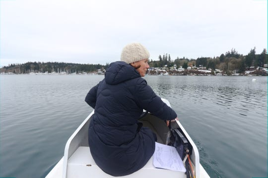 Sue Entress, president of Bainbridge Island Rowing's board, looks out at the Dave Ullin Open Water Marina in Eagle Harbor on a chilly Thursday.