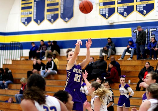 North Kitsap senior Raelee Moore shoots a 3-pointer during Thursday's district playoff game against Fife. The Vikings won 54-35.