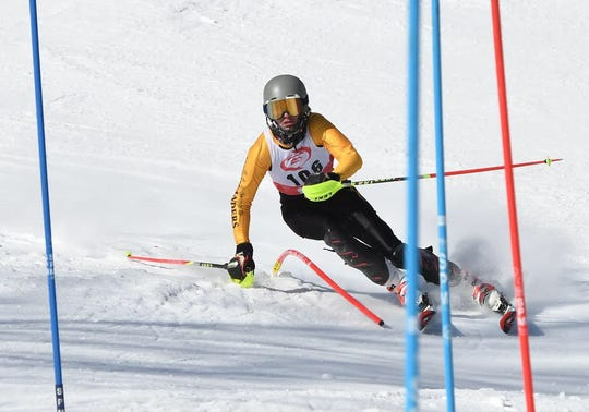Harwood's Rex Rubinstein competes in an alpine ski race earlier this season.