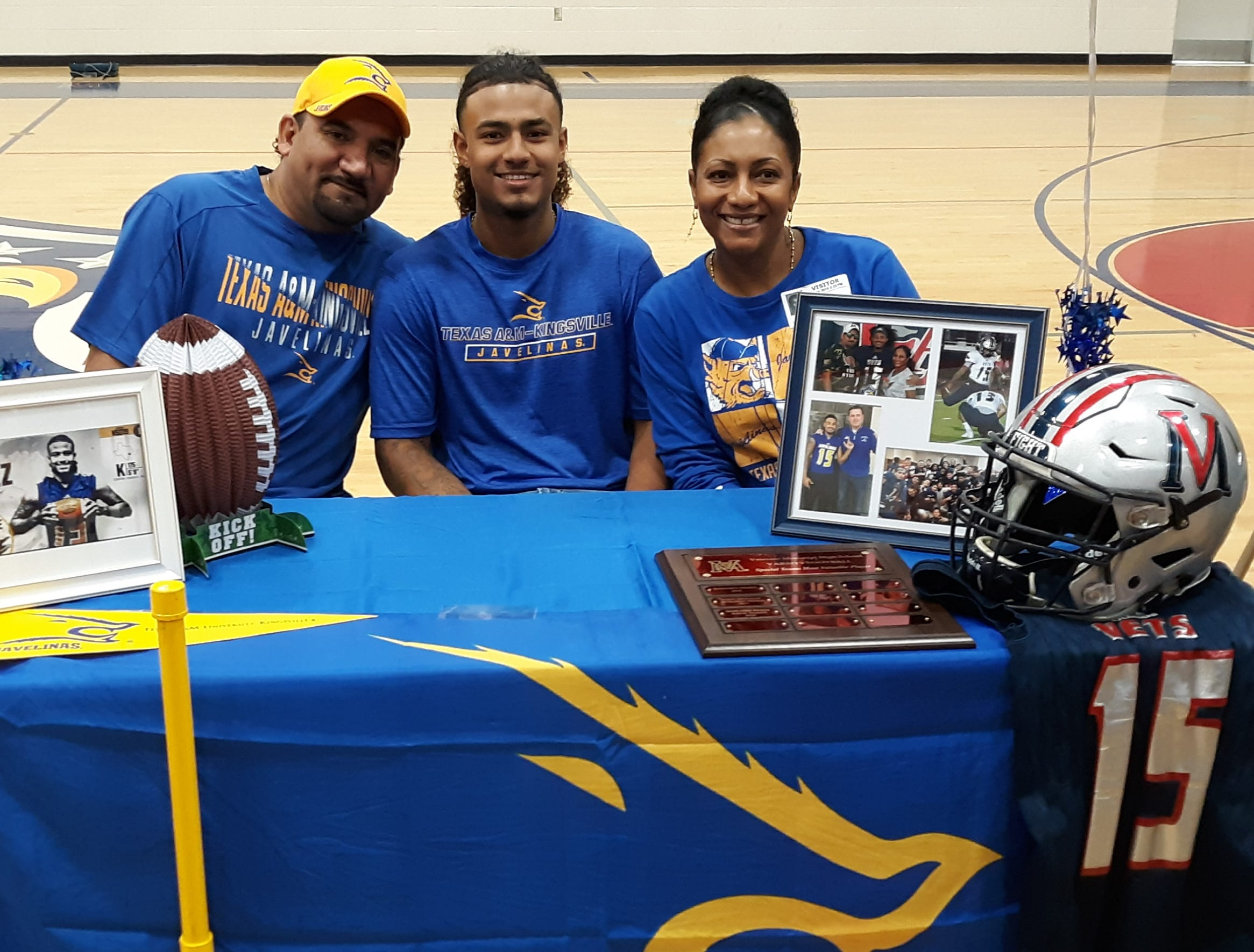 Veterans Memorial kicker Romario Perez signed with Texas A&M-Kingsville on Thursday. Perez was a first team selection on the All-South Texas team and the 2018 Class 5A Associated Press All-State team.