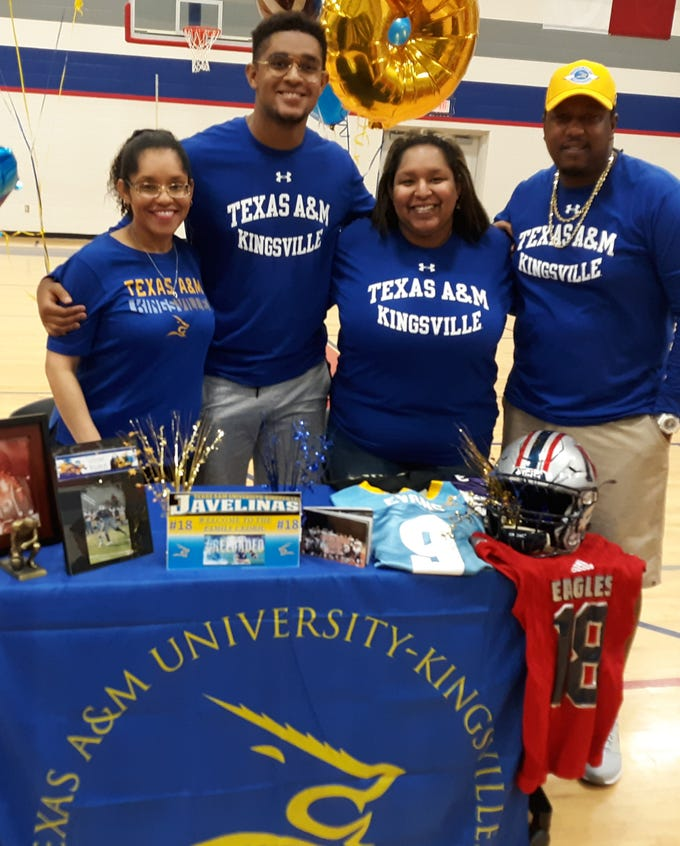 Veterans Memorial linebacker Cedric Evans signed with Texas A&M-Kingsville. Evans was a third team selection on the All-South Texas football team.