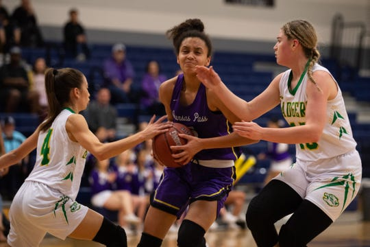 Aransas Pass defeats Bishop 68-48 in the Class 3A girls area round game at Veterans Memorial High School on Thursday, Feb. 14, 2019.