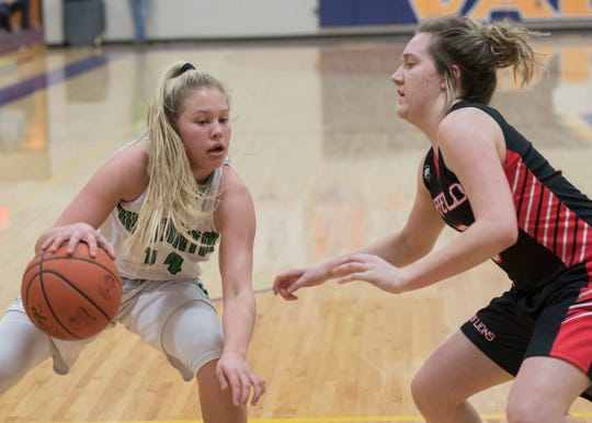 Huntington's Allison Basye dribbles the ball during her freshman season in a 68-64 win over Leesburg Fairfield in a Division III sectional semifinal at Valley High School.