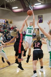 The six-seeded Huntington High School girls basketball team defeated 11-seeded Leesburg Fairfield 68-64 in the Division III sectional semifinal on Thursday at Valley High School.