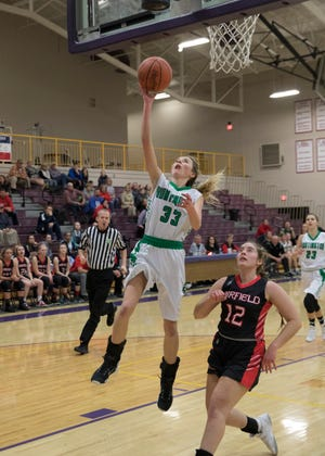 Huntington's Braiden Collins became the school's all-time leading scorer during the second quarter as she only needed eight points to break it coming into the game.