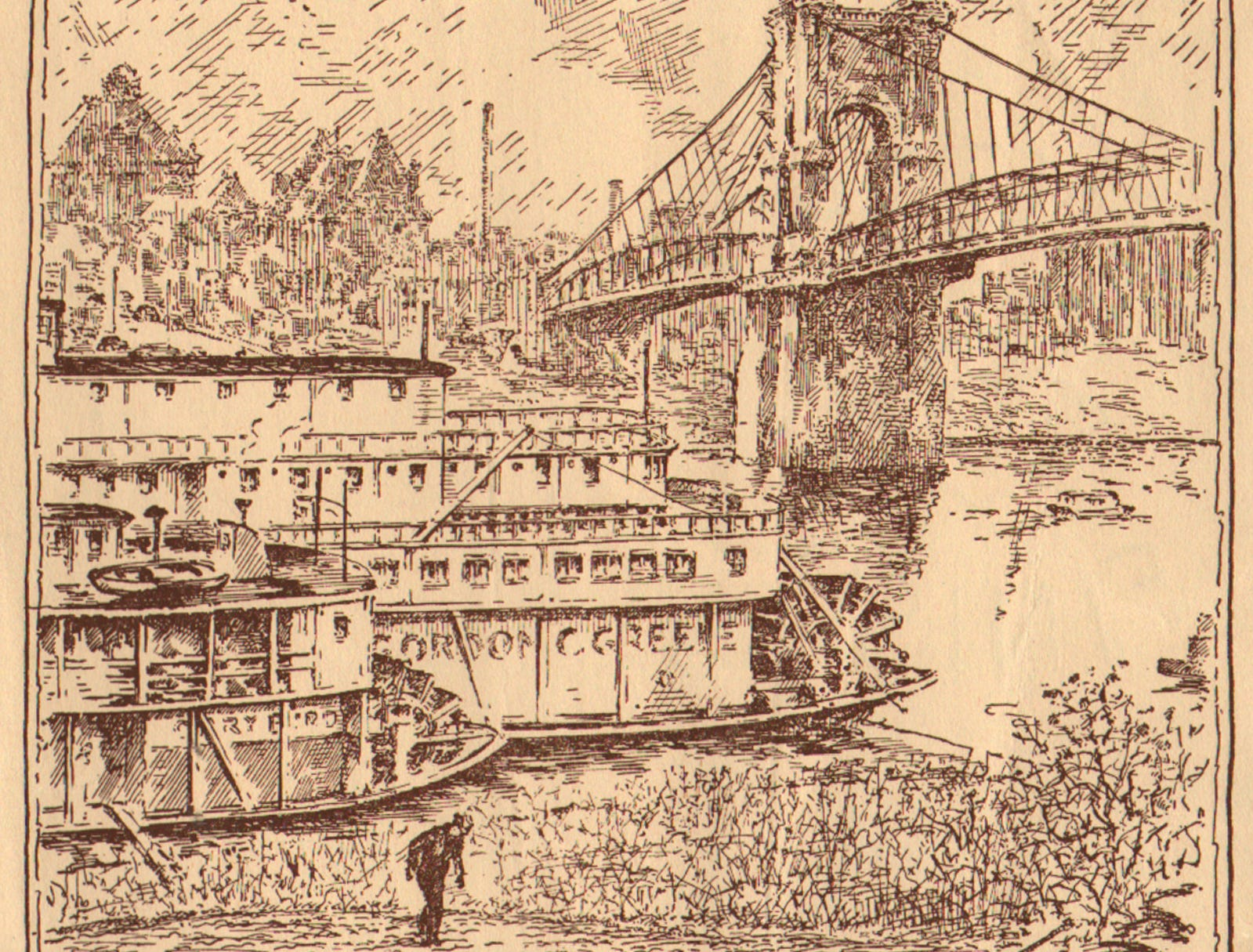UNDATED: A drawing of the John A. Roebling Suspension Bridge. From the Enquirer archives scanned December 20, 2010
