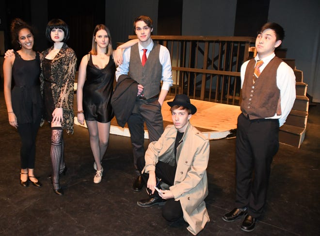 Thirty-five cast and crew members are preparing for opening night of CHICAGO on Feb. 21 at Cincinnati Country Day School. Cast members include, from left, Anika Minocha of Indian Hill, Ava Kellar of Hyde Park, Annabel Forman of Glendale, Eric Fleischmann of Terrace Park, Sam Jaccaci of Indian Hill and Frank Weston of Loveland.