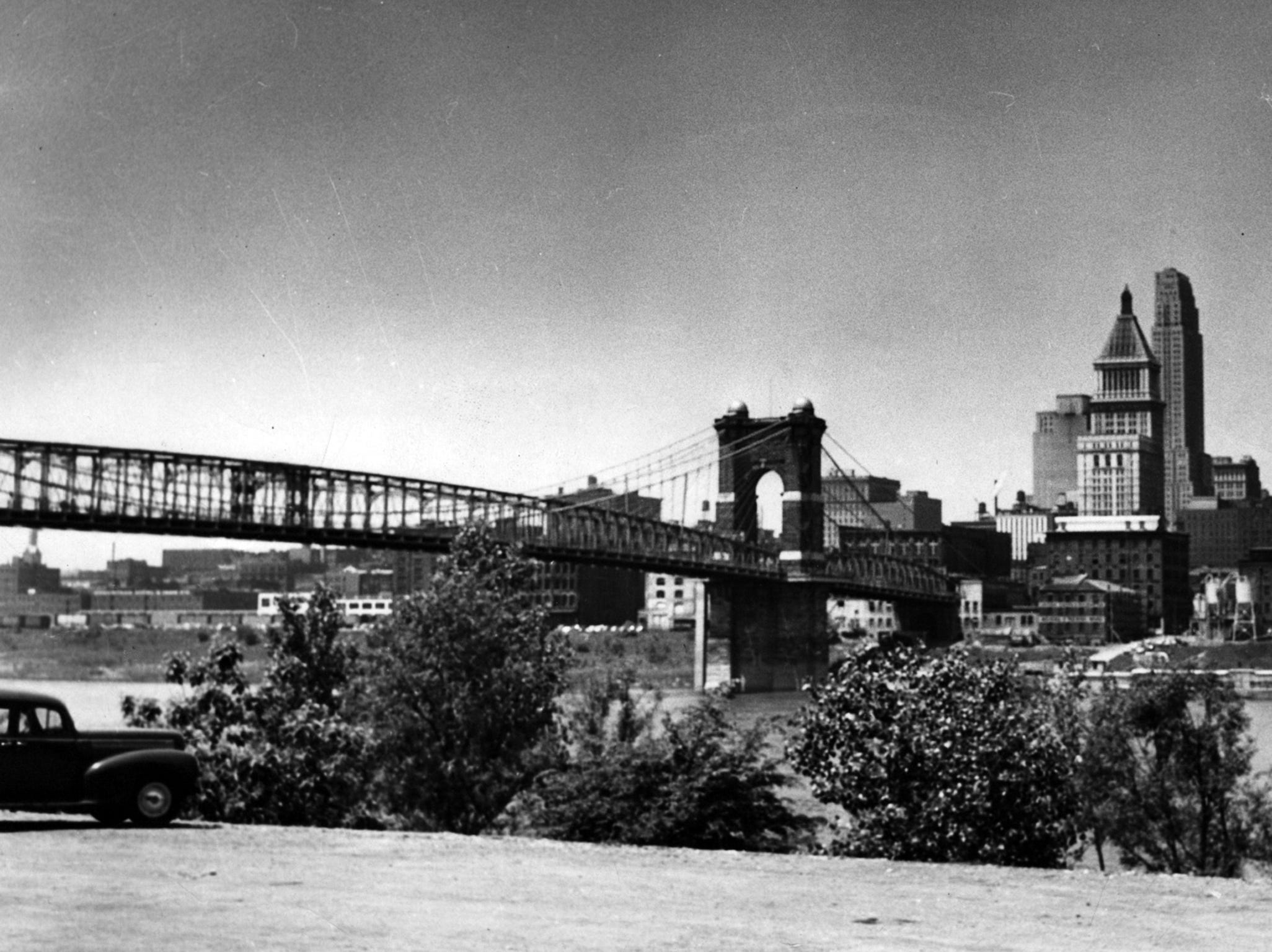 1952: John A. Roebling Suspension Bridge as seen from the Kentucky side of the Ohio River. Enquirer File Photo scanned May 16, 2013