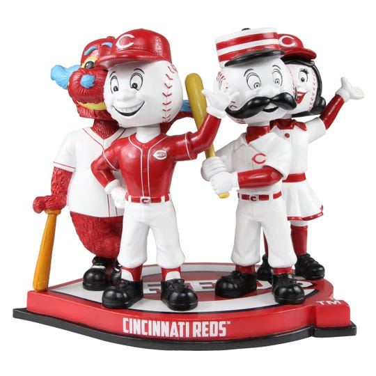 This quadruple bobblehead features the Reds four official mascots, Mr. Redlegs, Mr. Red, Gapper and Rosie Red all on one base. It was produced exclusively for the National Bobblehead Hall of Fame and Museum by FOCO.