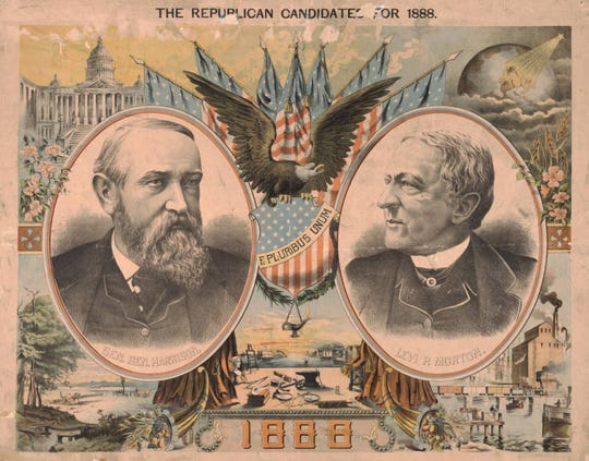 A campaign poster shows Republican candidates Benjamin Harrison and Levi Morton for the 1888 presidential election.