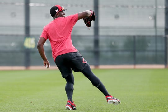 Cincinnati Reds outfielder Taylor Trammell (78) throws from the outfield, Friday, Feb. 15, 2019, at the Cincinnati Reds spring training facility in Goodyear, Arizona.