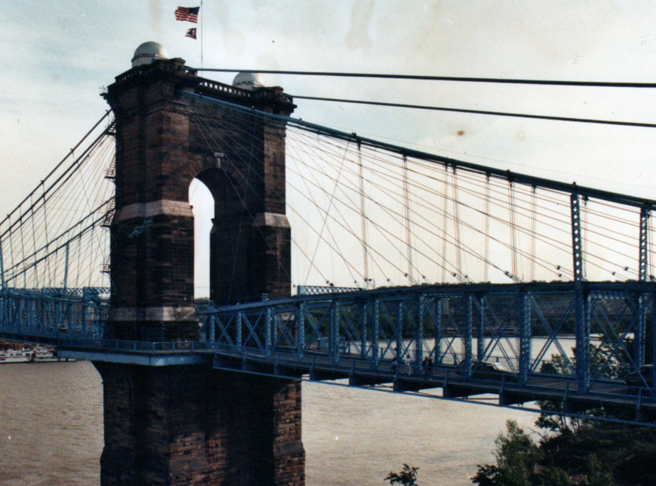 MAY 11, 1990: The John A. Roebling Suspension Bridge, linking Cincinnati and Covington since 1866, is getting a $7 million face lift that will be finished in 1993. The Enquirer/Jim Callaway scanned May 16, 2013