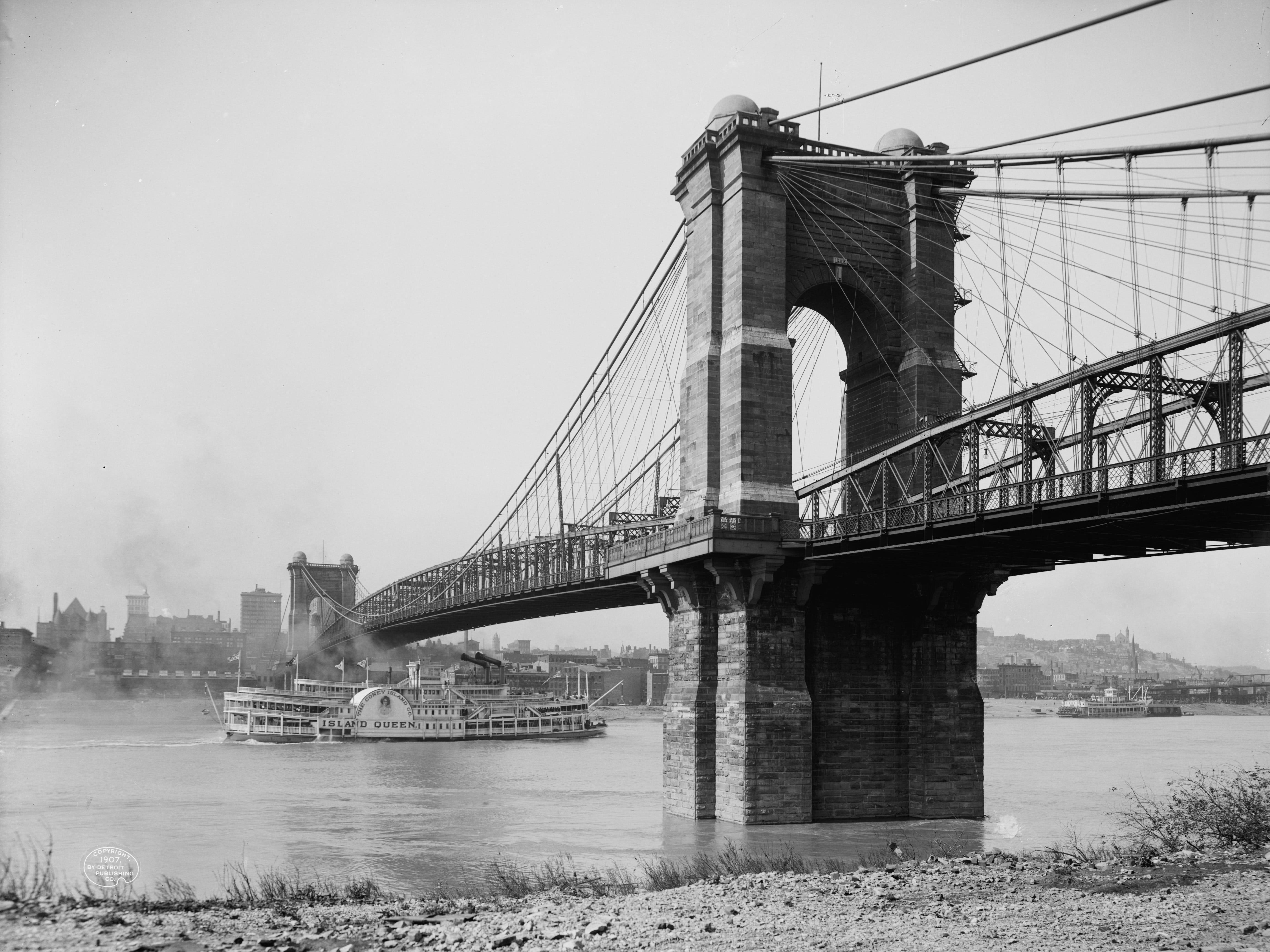 The Island Queen (first version) passes under the Roebling Suspension Bridge, carrying Coney Island passengers. Coney Island, Cincinnati Detroit Publishing Company/The Library of Congress Coney Island, Cincinnati Circa 1910