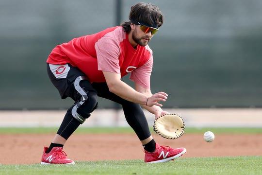Cincinnati Reds shortstop Alex Blandino (2) works individually, Friday, Feb. 15, 2019, at the Cincinnati Reds spring training facility in Goodyear, Arizona.