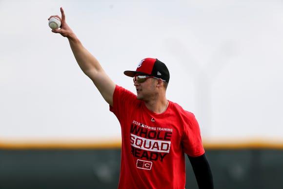 Cincinnati Reds infielder/outfielder Nick Senzel (15) gestures toward a teammate, Friday, Feb. 15, 2019, at the Cincinnati Reds spring training facility in Goodyear, Arizona.