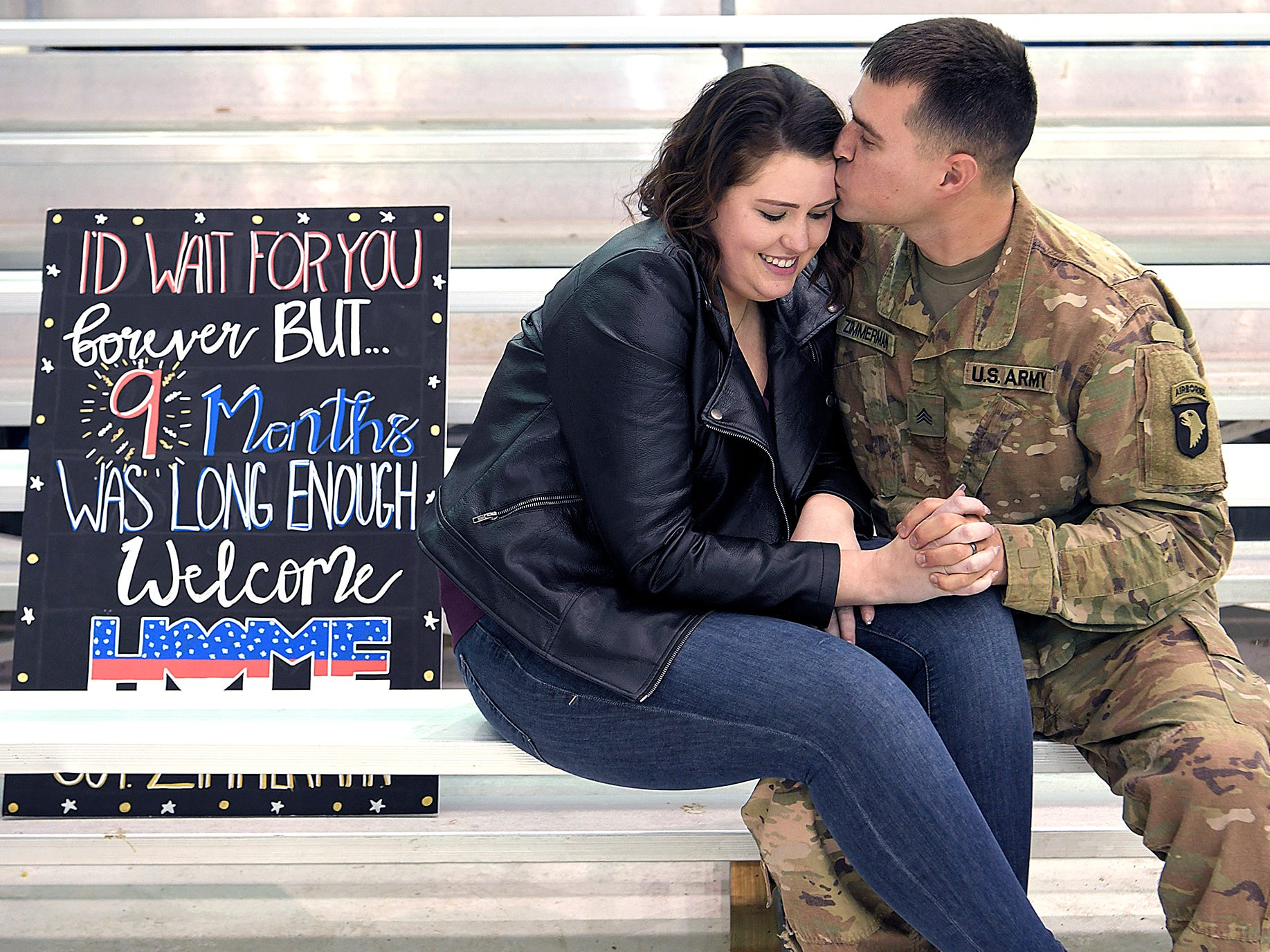 Carly and Tony Zimmerman embrace after Tony and 170 other soldiers from the 101st Combat Aviation Brigade, 101st Airborne Division (Air Assault) returned to Fort Campbell, KY on Friday, Feb. 15, 2019 after a nine-month deployment to Afghanistan.