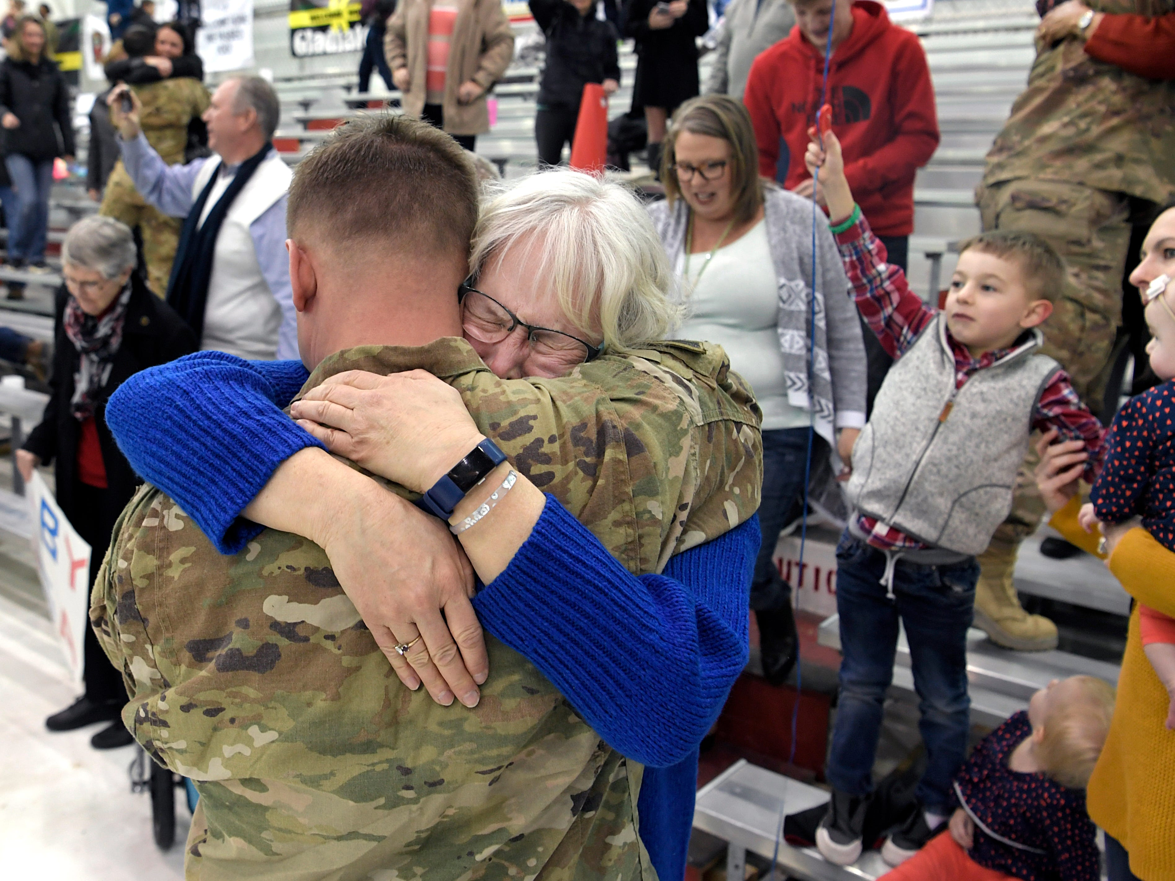 "Susan Erickson hugs her son, Ben, during a welcome home ceremony form  171 soldiers assigned to ""Task Force Destiny,"" 101st Combat Aviation Brigade, 101st Airborne Division (Air Assault) returned to Fort Campbell, KY on Friday, Feb. 15, 2019 after a nine-month deployment to Afghanistan."