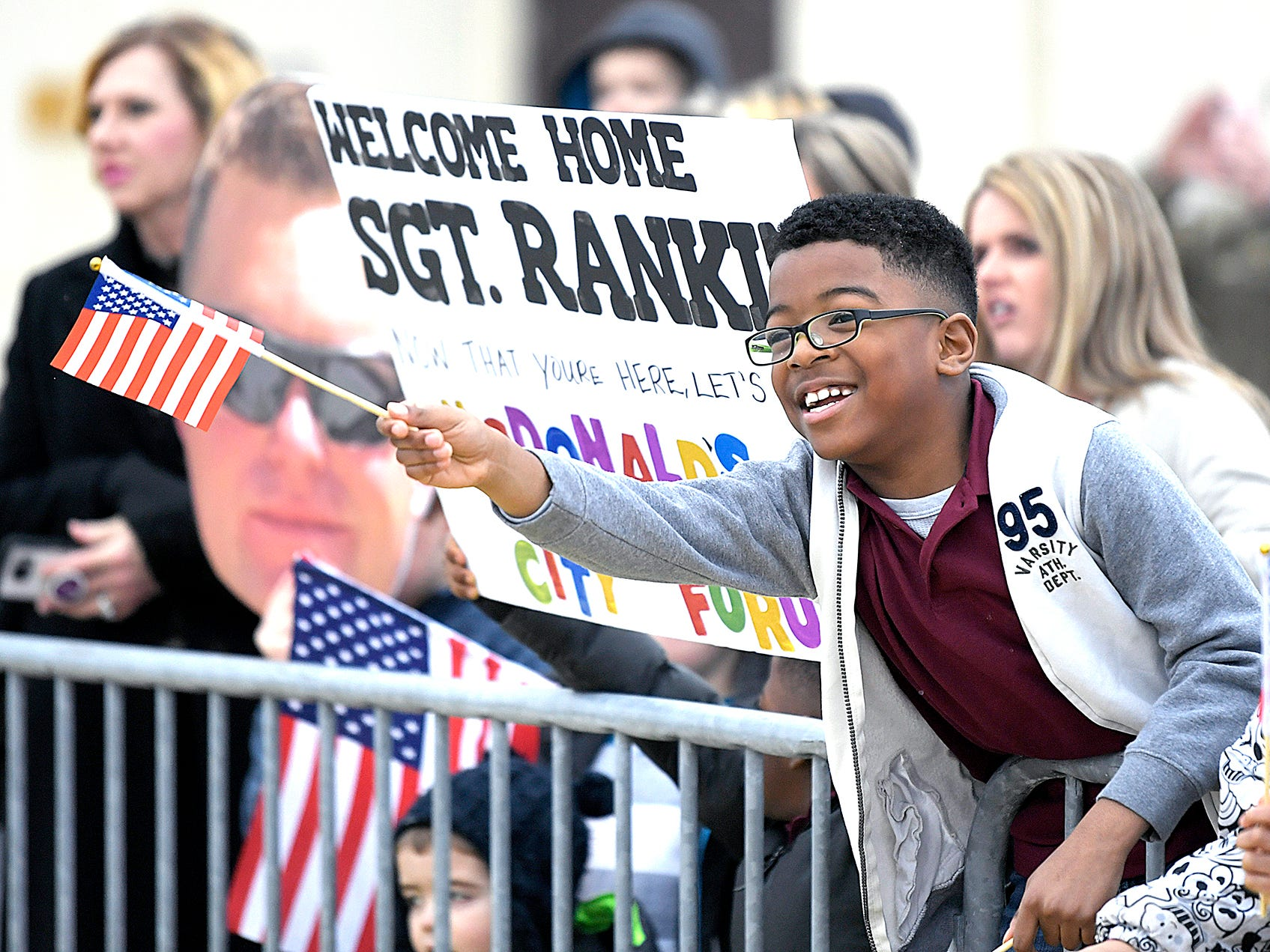 Joakim Rankin,8, cheers as he sees his father's plane land during a Welcome Home ceremony of 170 soldiers from 101st Combat Aviation Brigade, 101st Airborne Division (Air Assault) which returned to Fort Campbell, KY on Friday, Feb. 15, 2019 after a nine-month deployment to Afghanistan.