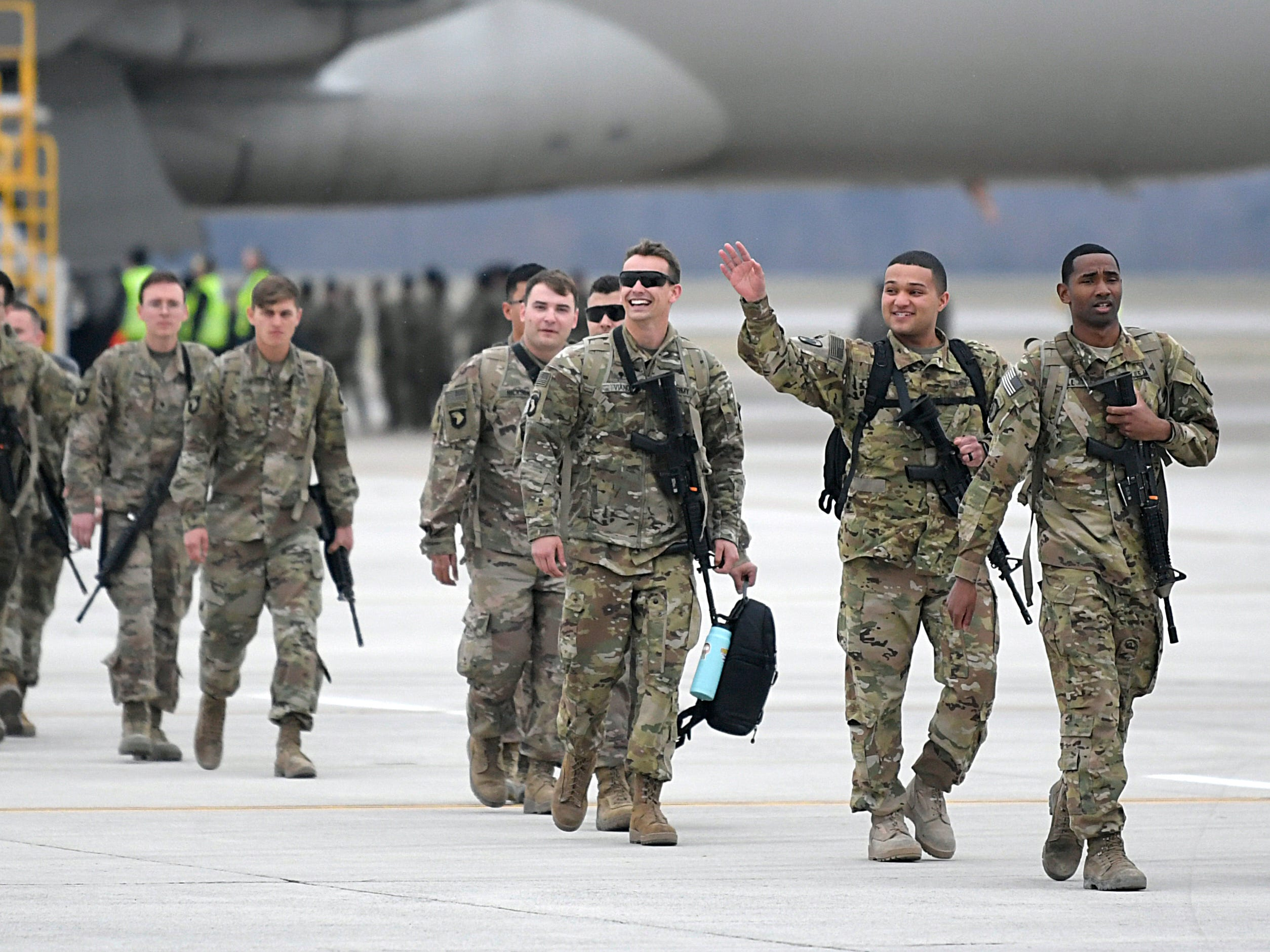 "About 170 soldiers assigned to ""Task Force Destiny,"" 101st Combat Aviation Brigade, 101st Airborne Division (Air Assault) returned to Fort Campbell, KY on Friday, Feb. 15, 2019 after a nine-month deployment to Afghanistan."