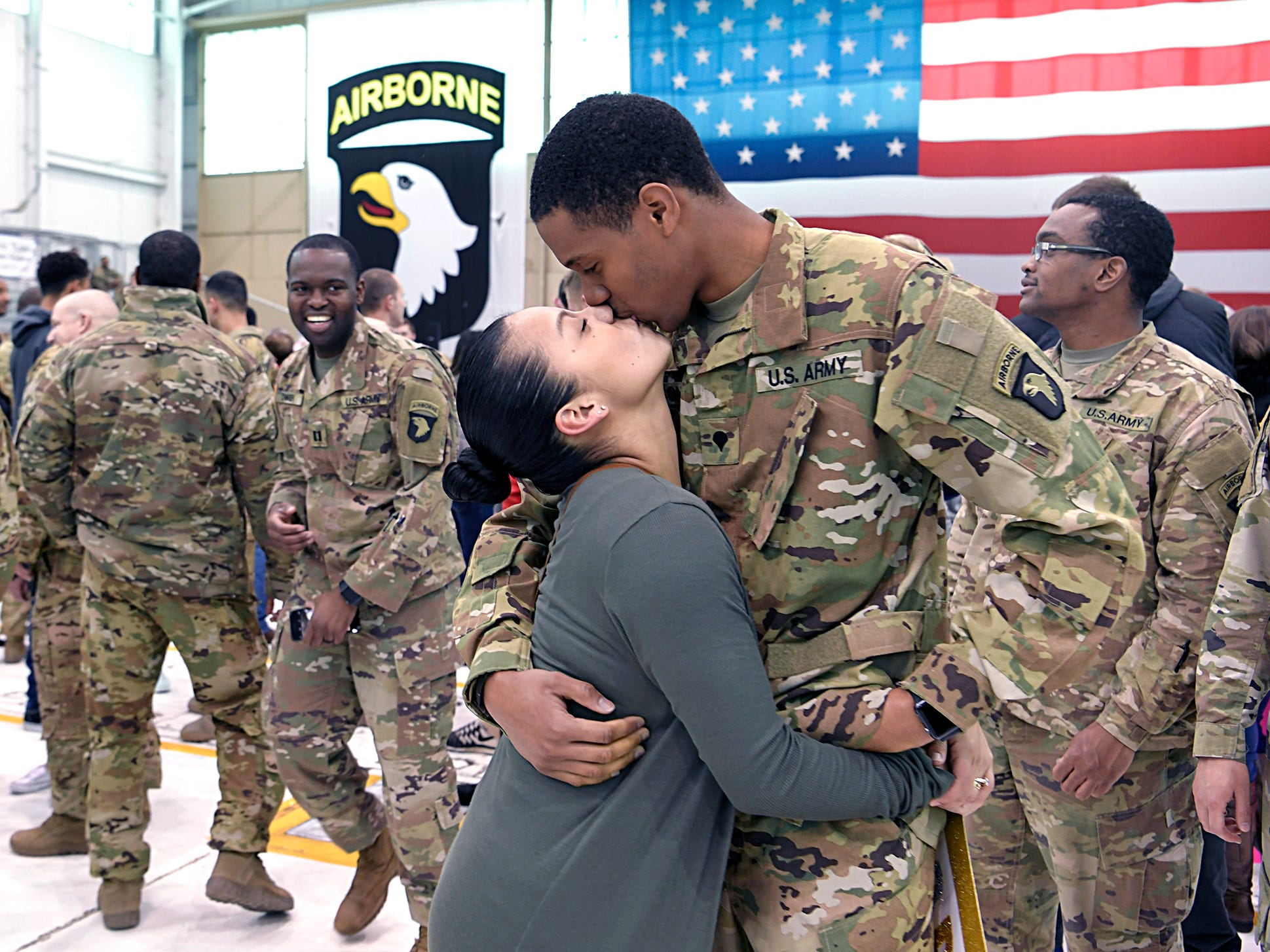 Family and friend welcome home soldiers from the 101st Combat Aviation Brigade, 101st Airborne Division (Air Assault) which returned to Fort Campbell, KY on Friday, Feb. 15, 2019 after a nine-month deployment to Afghanistan.