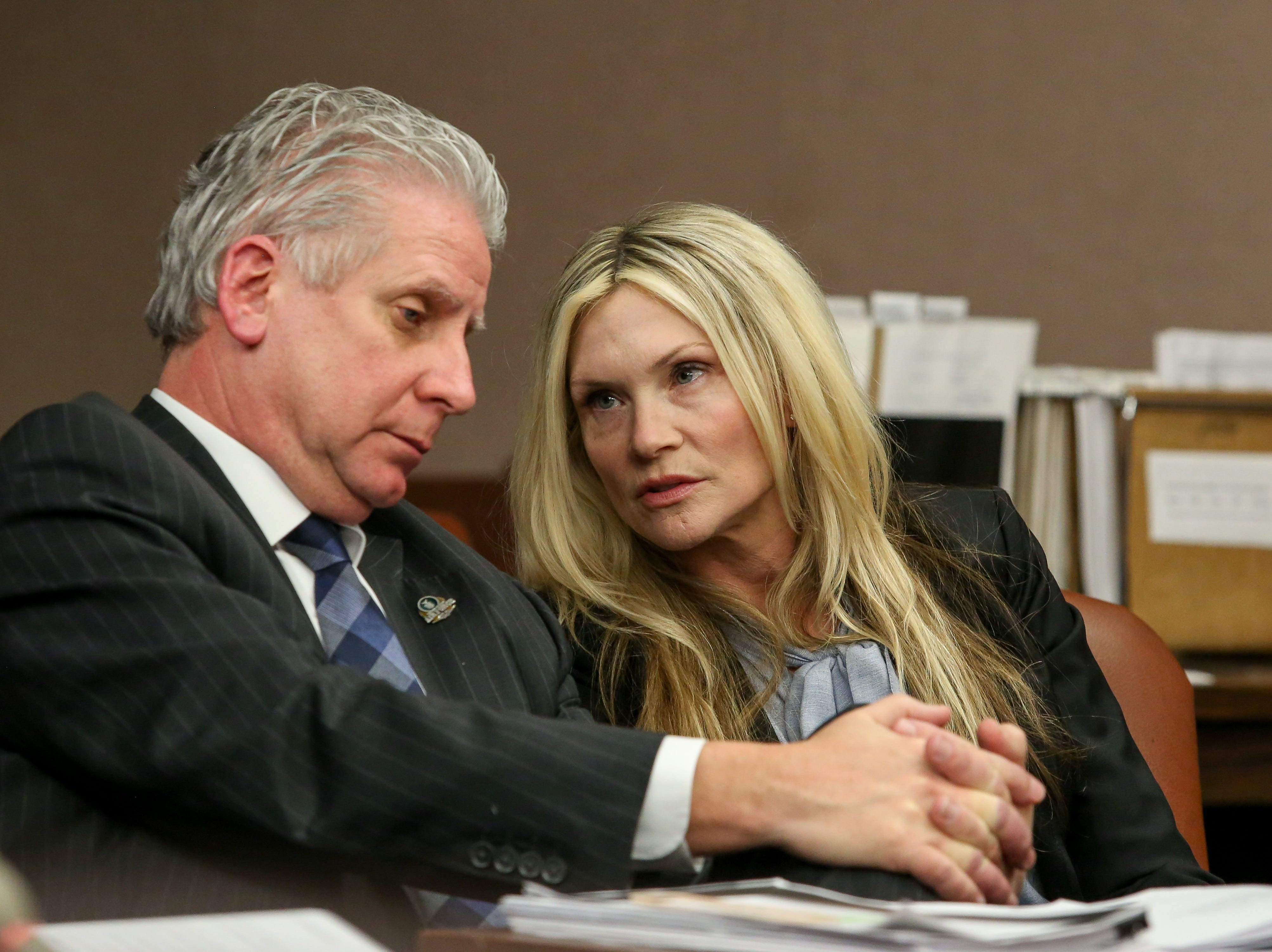 Defense attorney James Wronko with his client Amy Locane at her resentencing for a fatal 2010 auto accident inside Judge Kevin Shanahan's courtroom at the Somerset County Superior Courthouse in Somerville on February 15, 2019. Alexandra Pais/ for the Courier News