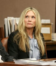 Defendant Amy Locane at her resentencing for a fatal 2010 auto accident inside Judge Kevin Shanahan's courtroom at the Somerset County Superior Courthouse in Somerville on February 15, 2019. Alexandra Pais/ for the Courier News