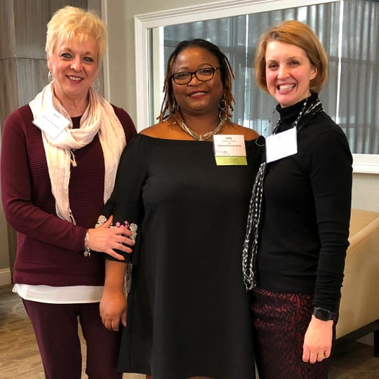 Karen Carucci (left), assistant administrator and Kate Shepard, executive director/administrator at Reformed Church Home in Old Bridge, celebrate with Sally Kabineh, LPN, (center) at the LeadingAge NJ awards ceremony. Kabinehreceived the Excellence in Direct Care Award for her dedication to compassionate elder care at the Home during the past 18 years.