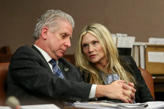 Defense attorney James Wronko with his client Amy Locane at her resentencing for a fatal 2010 auto accident inside Judge Kevin Shanahan's courtroom at the Somerset County Superior Courthouse in Somerville on Feb. 15, 2019.