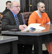 Public Defender Jeffrey Mullen addresses Coshocton County Common Pleas Court on behalf of his client Brandon L. Yoder of Millersburg. Yoder received four years in prison for charges of burglary, theft and theft of a firearm.