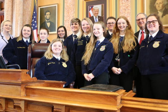 Rep. John Landon, R-Ankeny, welcomed members of the Des Moines FFA to the Iowa House of Representatives.  They were visiting the Capitol to talk with legislators during FFA Day on the Hill.