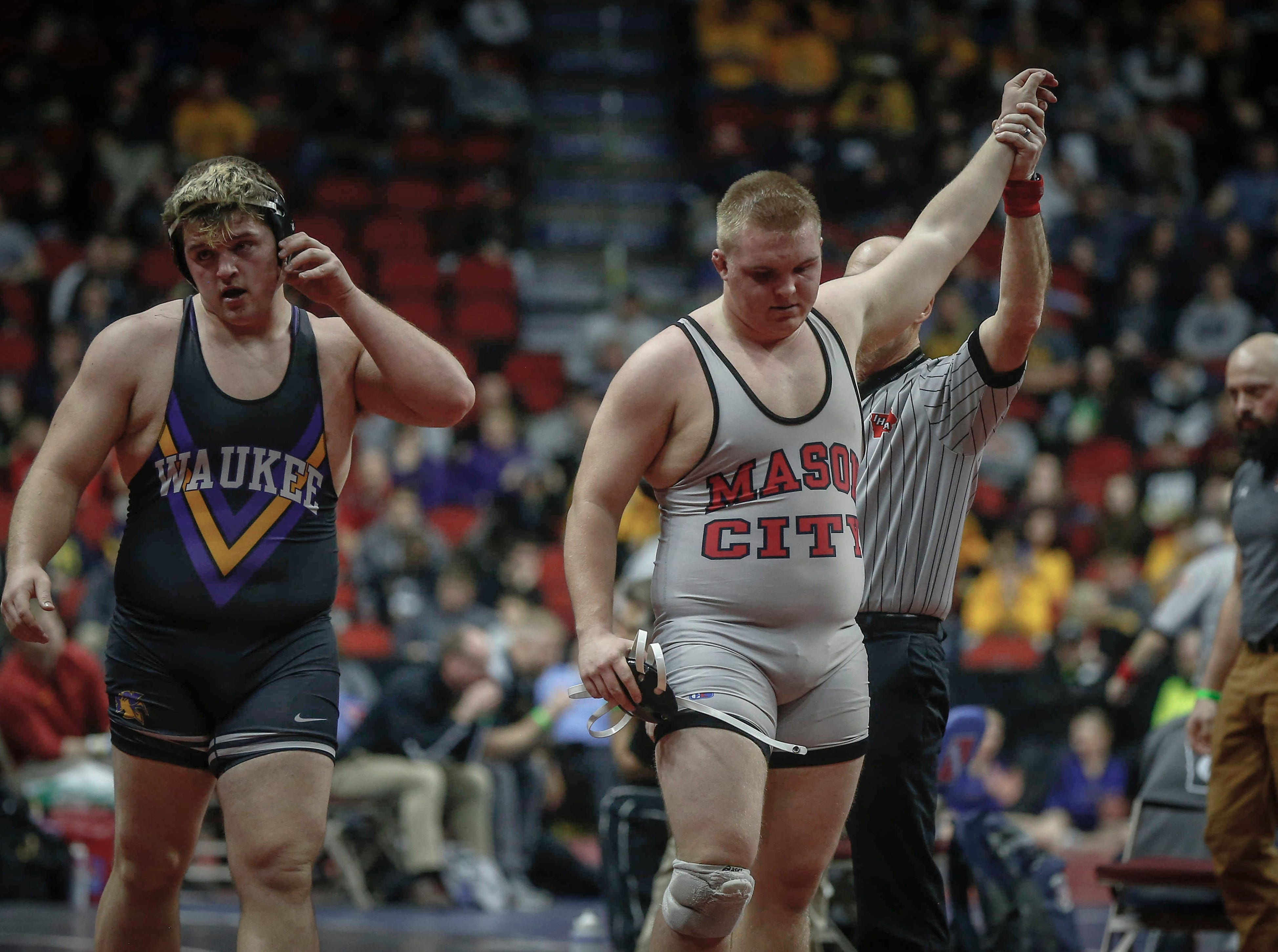 Mason City senior Troy Monahan beat Waukee junior Conner Arndt in overtime in their match at 285 pounds during the state wrestling quarterfinals on Friday, Feb. 15, 2019, at Wells Fargo Arena in Des Moines.