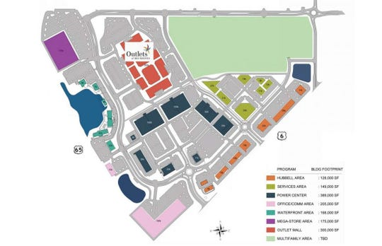 The above site plan shows current and future land uses for Prairie Crossing in Altoona. The Outlets of Des Moines opened in 2017, and development is continuing along the waterfront area.