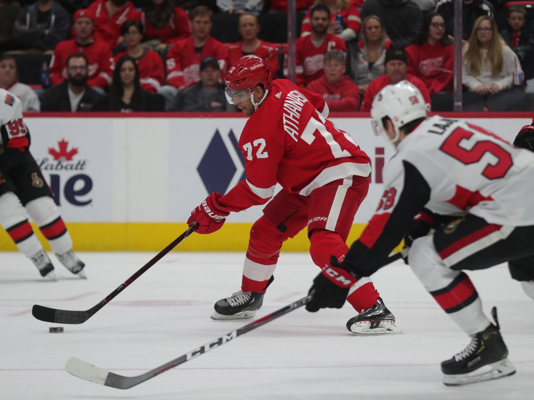 Andreas Athanasiou (72) skates against the Ottawa Senators on Feb. 14, 2019, at Little Caesars Arena in Detroit.